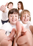 Happy family throw out thumb. Royalty Free Stock Images