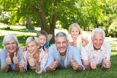 Happy family with thumbs up royalty free stock photos