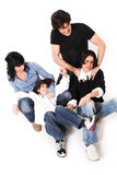 Happy family time. Happy family spending time together over white background royalty free stock photo