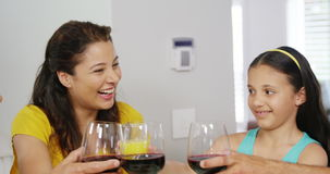 Happy family toasting wine glasses. At home stock video footage