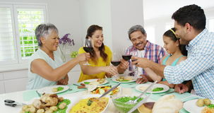 Happy family toasting wine glasses. At home stock footage