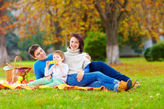 Happy family together on autumn picnic Royalty Free Stock Images