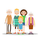 Happy family together. Grandmother, grandfather, mother, father and son. Illustration in flat style. Isolated. White background Royalty Free Stock Photos