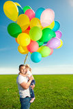Happy family together in outdoor park  at sunny day. Dad and dau Royalty Free Stock Photos