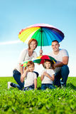 Happy family together in outdoor park  at sunny day. Mom, dad an Royalty Free Stock Images