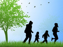 Happy family together outdoors Stock Images