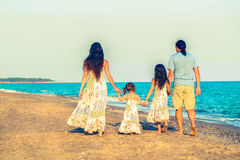 Happy family together. Summer holidays. Happy family having fun together. Summer holidays. Retro style royalty free stock photography