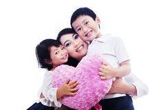 Happy family together on white Royalty Free Stock Photos