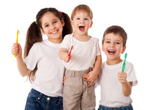 Happy family with toothbrushes Royalty Free Stock Photography
