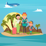Happy Family on Travel by Airplane. Young Family on the Tropical Vacation Royalty Free Stock Image