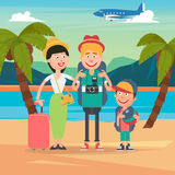 Happy Family on Travel by Airplane. Young Family on the Tropical Vacation Royalty Free Stock Photos