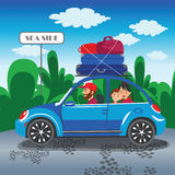 Happy family travel in a car Family traveling by car The family. Go out of town for a vacation World Travel Summer holiday Tourism and vacation time Royalty Free Stock Photography