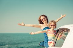 Happy family travel by car royalty free stock image