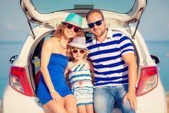 Happy family travel by car royalty free stock photo
