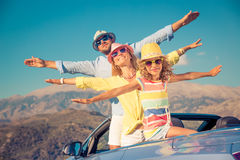 Happy family travel by car in the mountains Royalty Free Stock Images