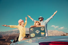 Happy family travel by car in the mountains Royalty Free Stock Photo
