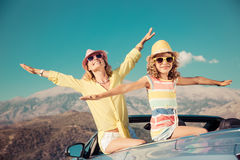 Happy family travel by car in the mountains Stock Photo