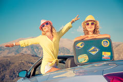 Happy family travel by car in the mountains Stock Photography