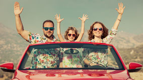 Happy family travel by car in the mountains Royalty Free Stock Image