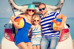 Happy family travel by car stock photo