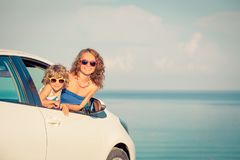 Happy family travel by car stock photos