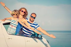 Happy family travel by car royalty free stock photo