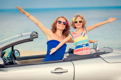 Happy family travel by car Stock Images