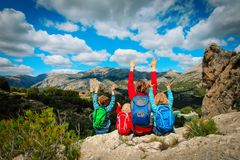 Happy family travel hiking in mountains,Guadalest, Alicante, Spain. Happy mother and kids travel hiking in mountains,Guadalest, Alicante, Spain royalty free stock photos