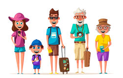 Happy family in travel. Journey of parents and child. Cartoon vector illustration. Happy family in travel. Journey of grandparents, parents and child. Cartoon Stock Photography