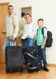 Happy family travelers going on holiday Stock Photography