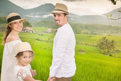 Happy family travelers taking selfie. People traveling in jatiluwih rice Royalty Free Stock Image
