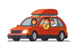 Happy family traveling by red car. Vector flat Stock Photography