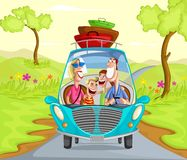 Happy family travelling in car Stock Images