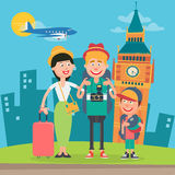Happy Family Travelling by Plane to England. Father, Mother and Son in London Stock Image