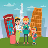 Happy Family Travelling to Europe. Father, Mother and Son with Famous European Architecture Royalty Free Stock Photo