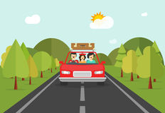 Happy family trip by car, people characters in auto travelling Stock Photos