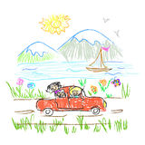 Happy family trip  doodle Royalty Free Stock Photos