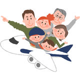 A happy family trip. A vector illustration of the family trip by airplane stock illustration