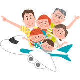 A happy family trip. A vector illustration of the family trip by airplane Royalty Free Stock Images