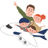 A happy family trip. A vector illustration of the family trip by airplane vector illustration