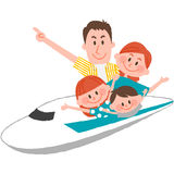 A happy family trip. A vector illustration of the family trip by train stock illustration