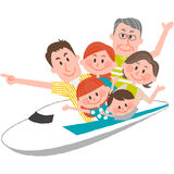 A happy family trip. A vector illustration of the family trip by train Stock Photo