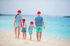 Happy family during tropical Christmas vacation Royalty Free Stock Photo