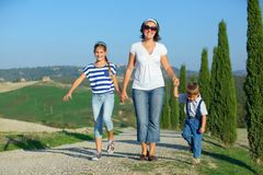 Happy family in Tuscan Stock Photography
