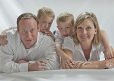 Happy family with two 6 years old twins Royalty Free Stock Photo