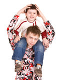 Happy family with two brother. Royalty Free Stock Photo