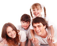Happy family with two  children. Royalty Free Stock Photography