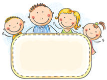 Happy family with two children. With a blank frame Stock Image