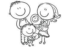 Happy family with two children, cartoon graphics, outline vector illustration