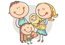 Happy family with two children, cartoon graphics royalty free illustration